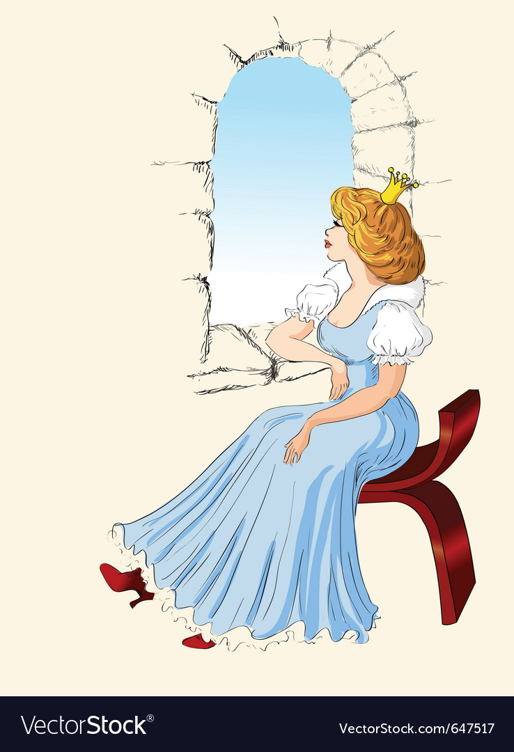 Charming princess sits at a window vector | Price: 1 Credit (USD $1)