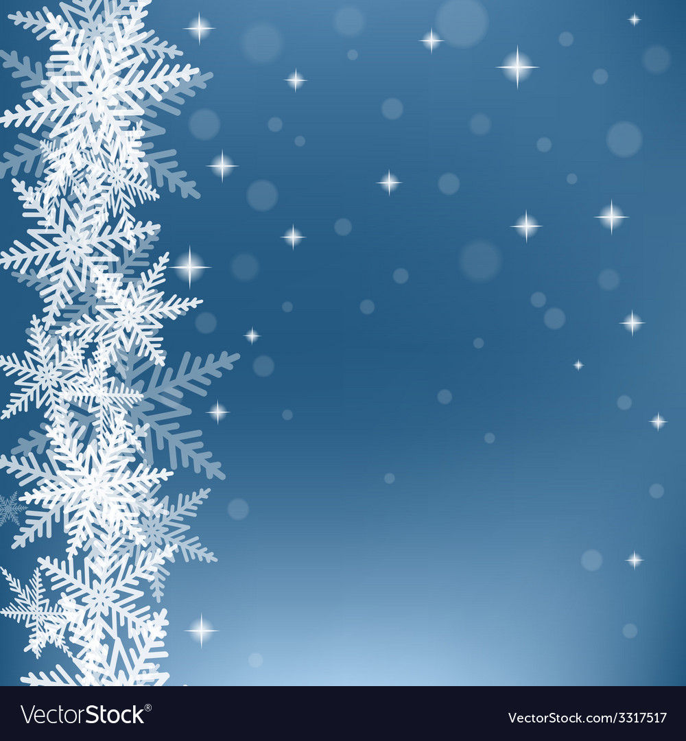 Christmas snowflakes on blue background vector | Price: 1 Credit (USD $1)