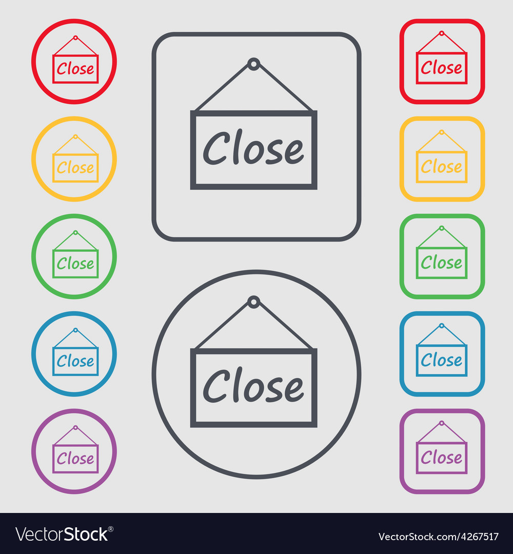 Close icon sign symbol on the round and square vector | Price: 1 Credit (USD $1)