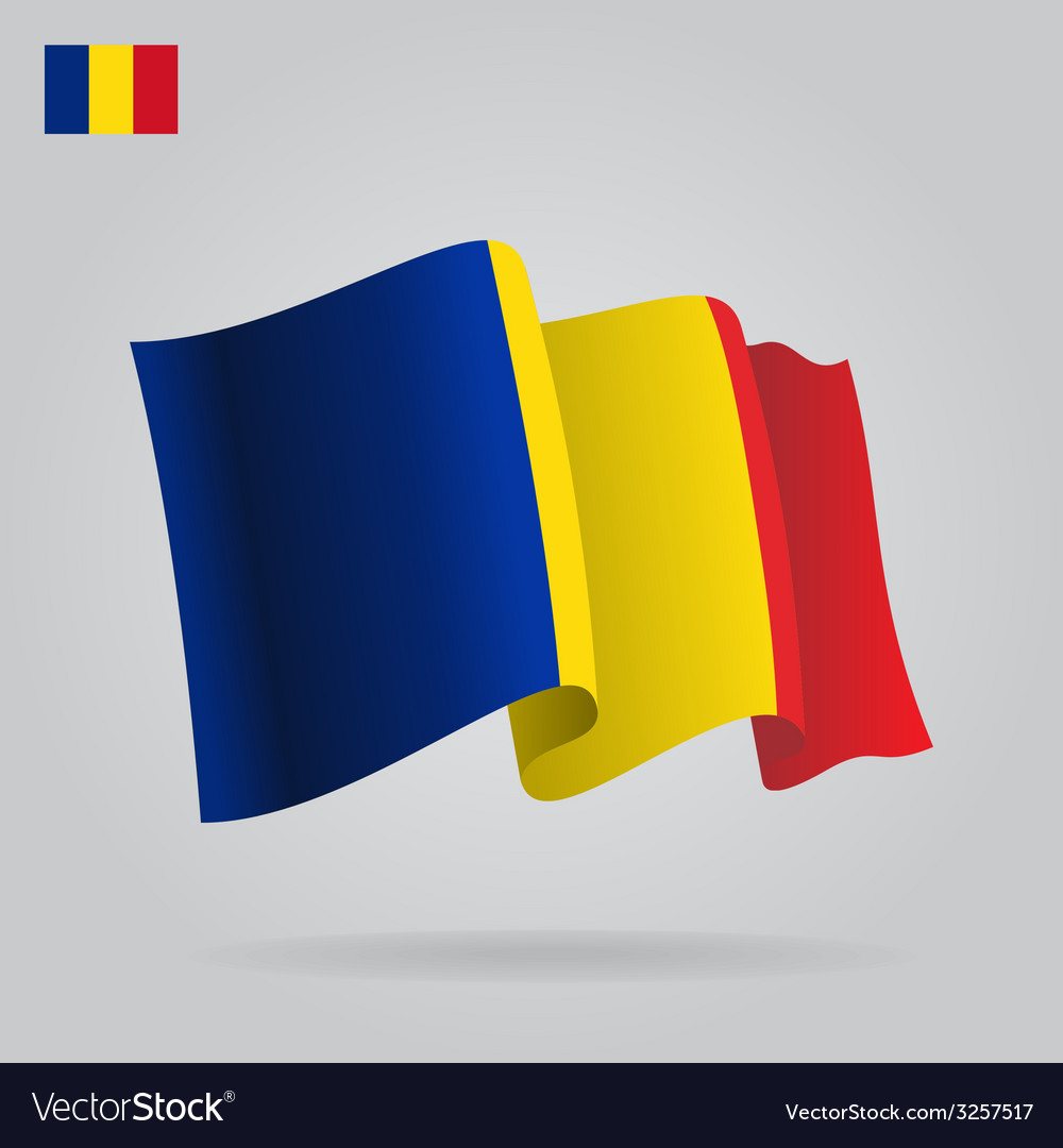Flat and waving romanian flag vector | Price: 1 Credit (USD $1)