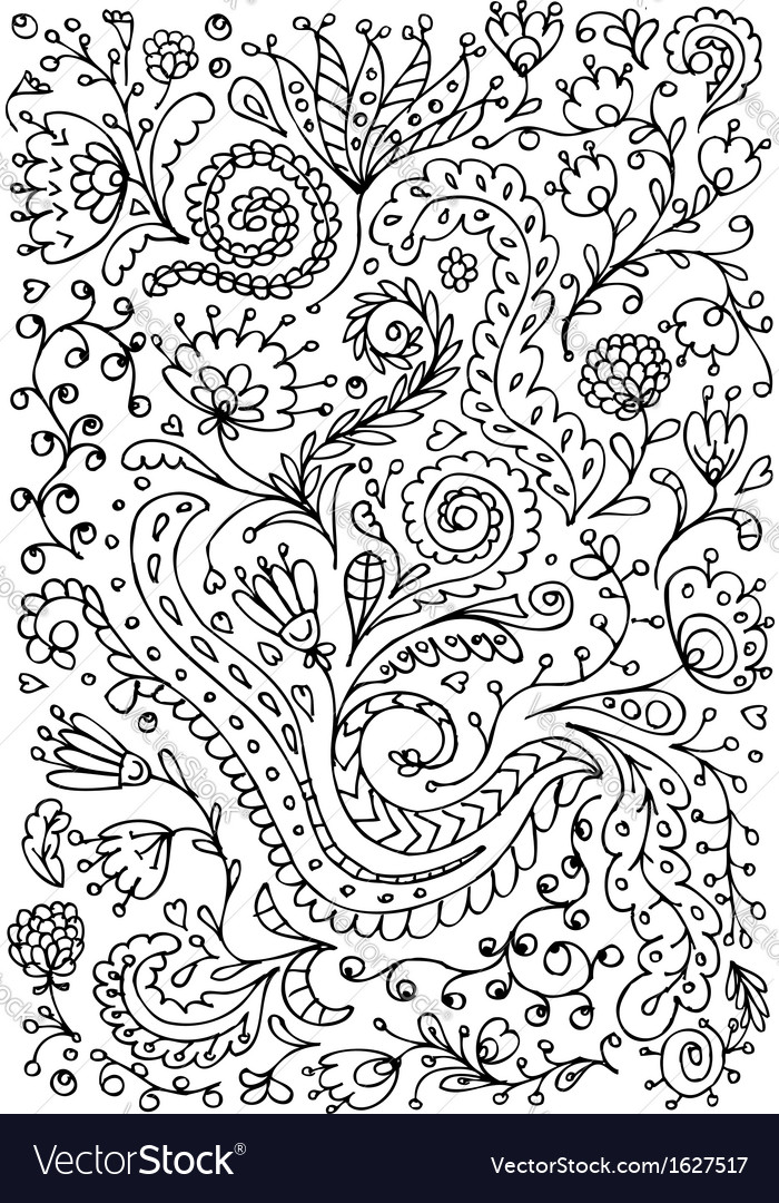 Floral ornament hand drawn sketch for your design vector | Price: 1 Credit (USD $1)