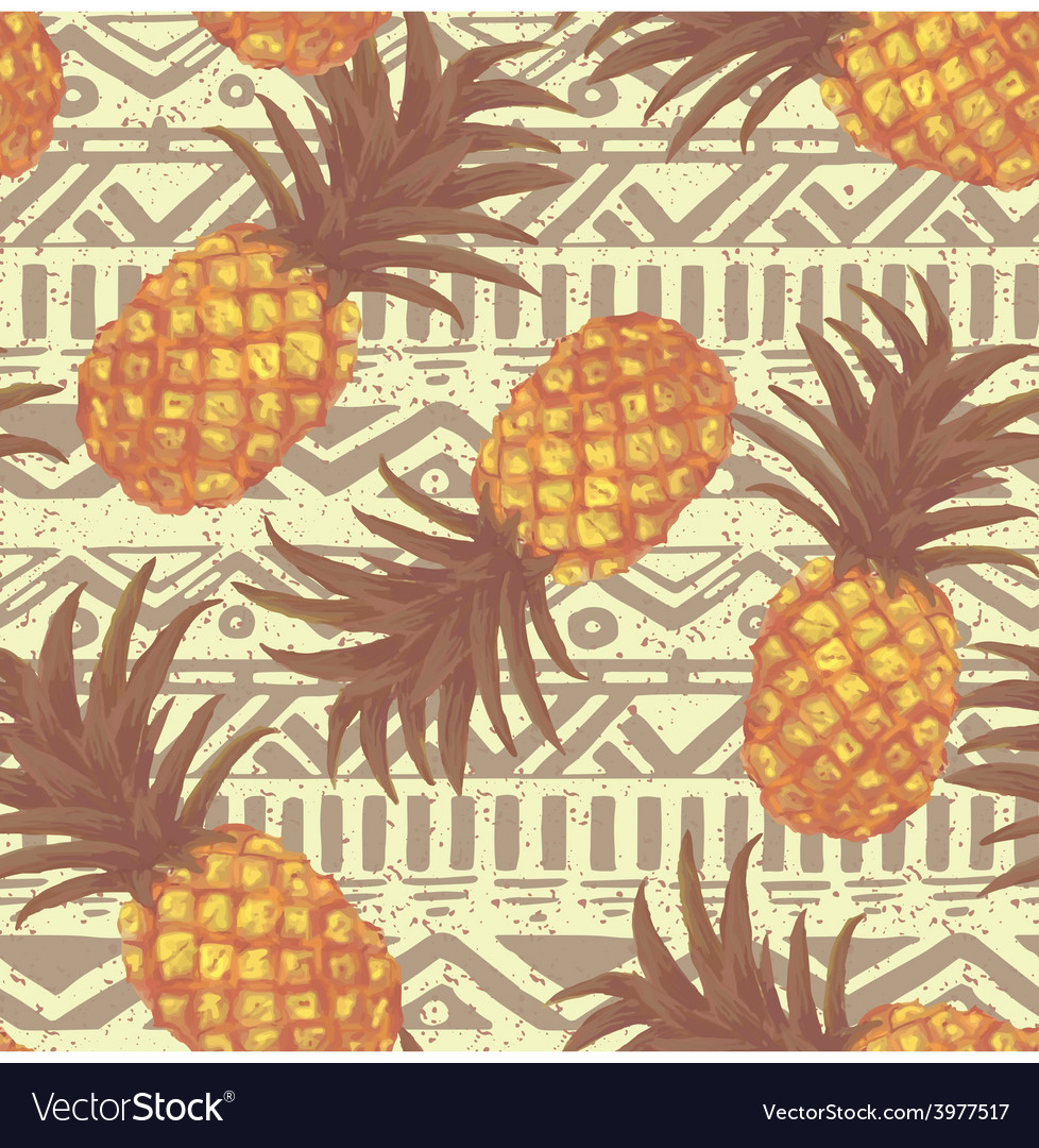 Hand drawn seamless pattern with pineapple in vector | Price: 1 Credit (USD $1)