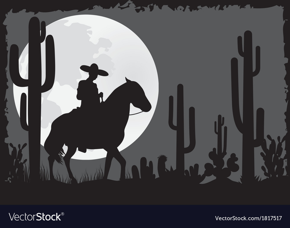 Horseman rides in the desert vector | Price: 1 Credit (USD $1)