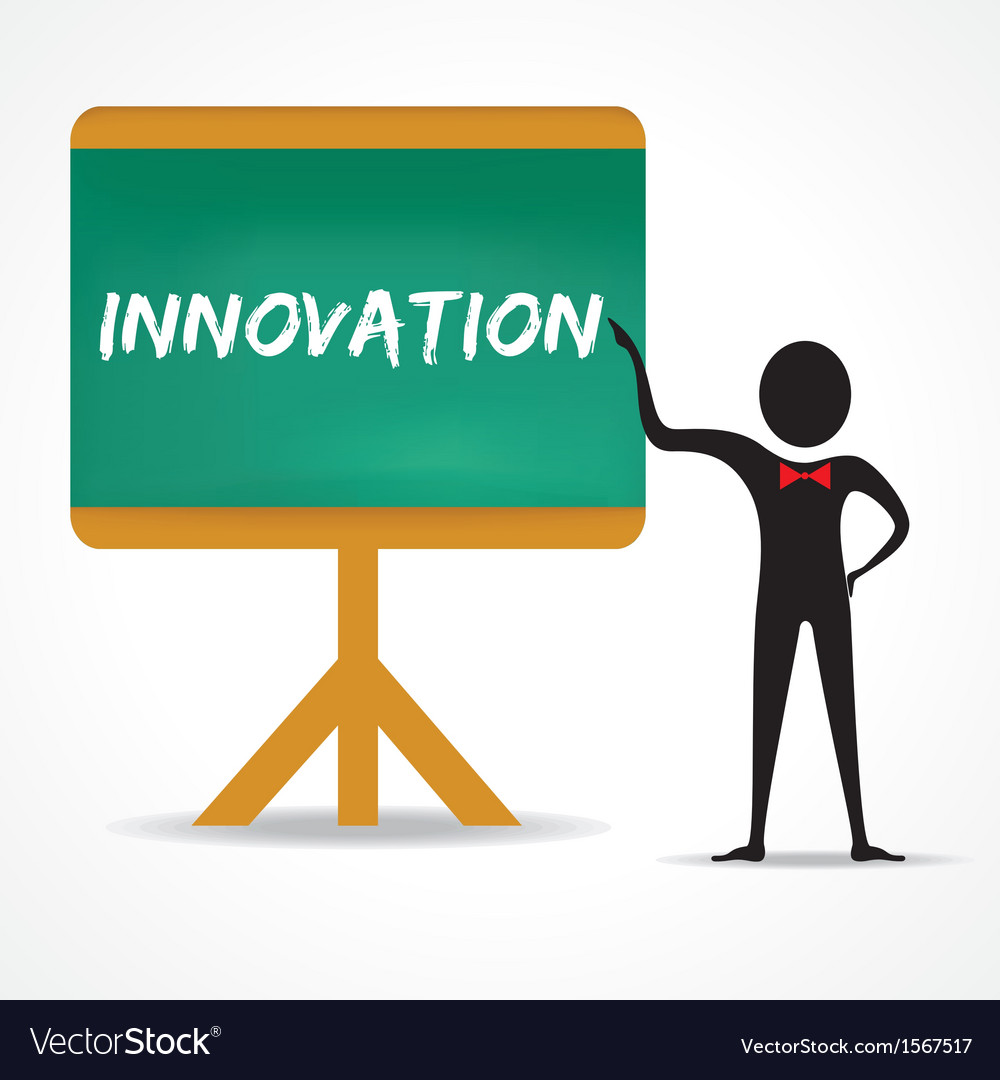 Man points to innovation word on green board vector | Price: 1 Credit (USD $1)