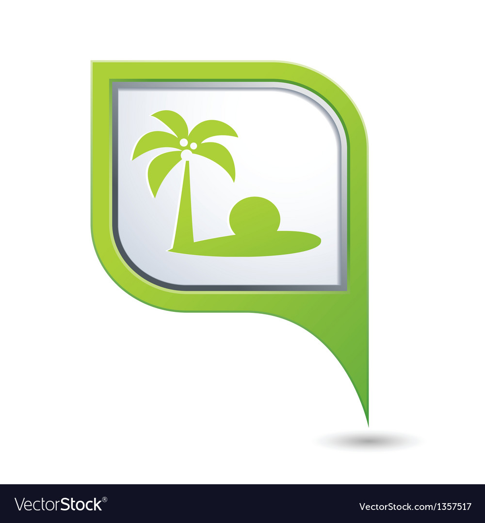 Map pointer with tropical beach icon vector | Price: 1 Credit (USD $1)