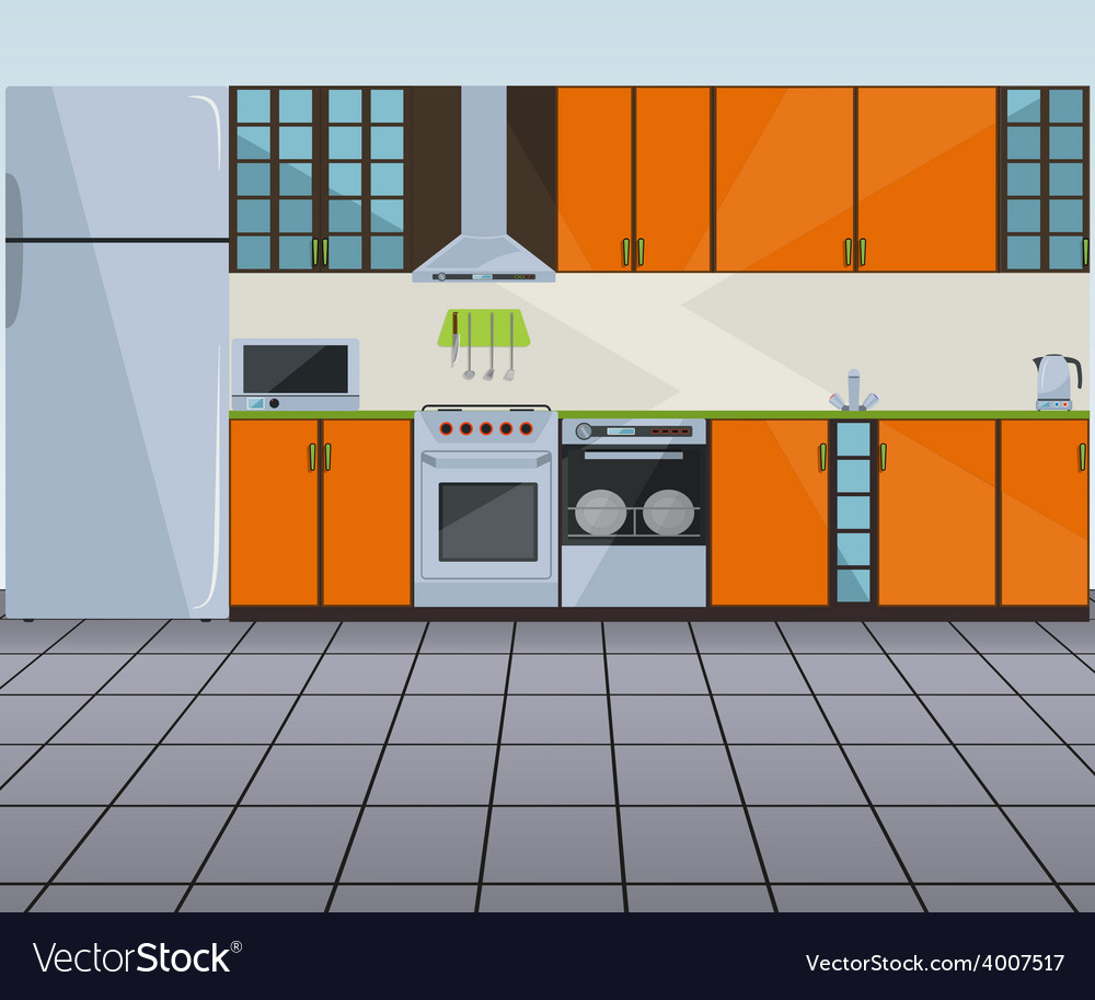 Modern orange kitchen interior vector | Price: 1 Credit (USD $1)
