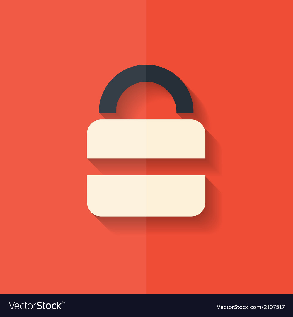 Padlock web icon flat design vector | Price: 1 Credit (USD $1)