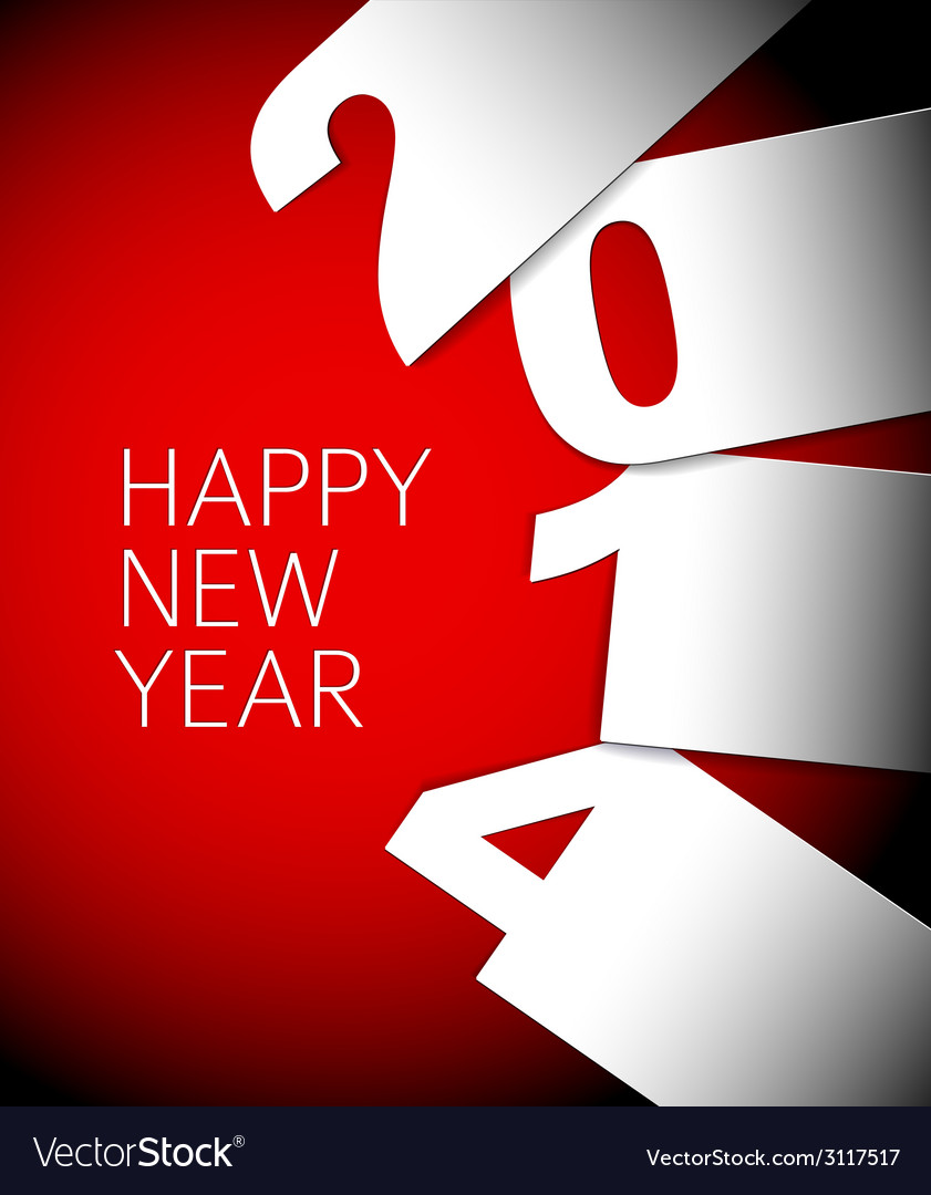Red and white happy new year 2014 card vector | Price: 1 Credit (USD $1)