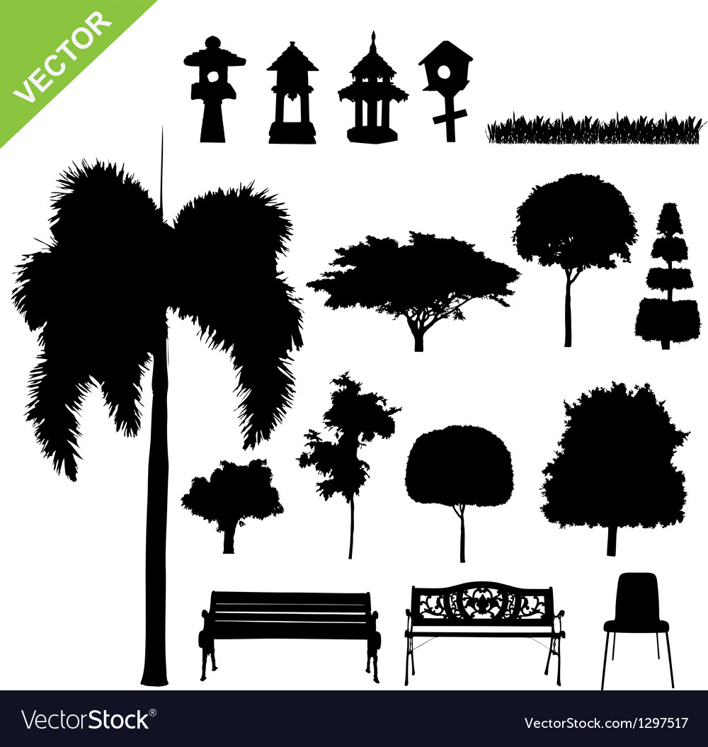 Silhouette tree and garden vector | Price: 1 Credit (USD $1)
