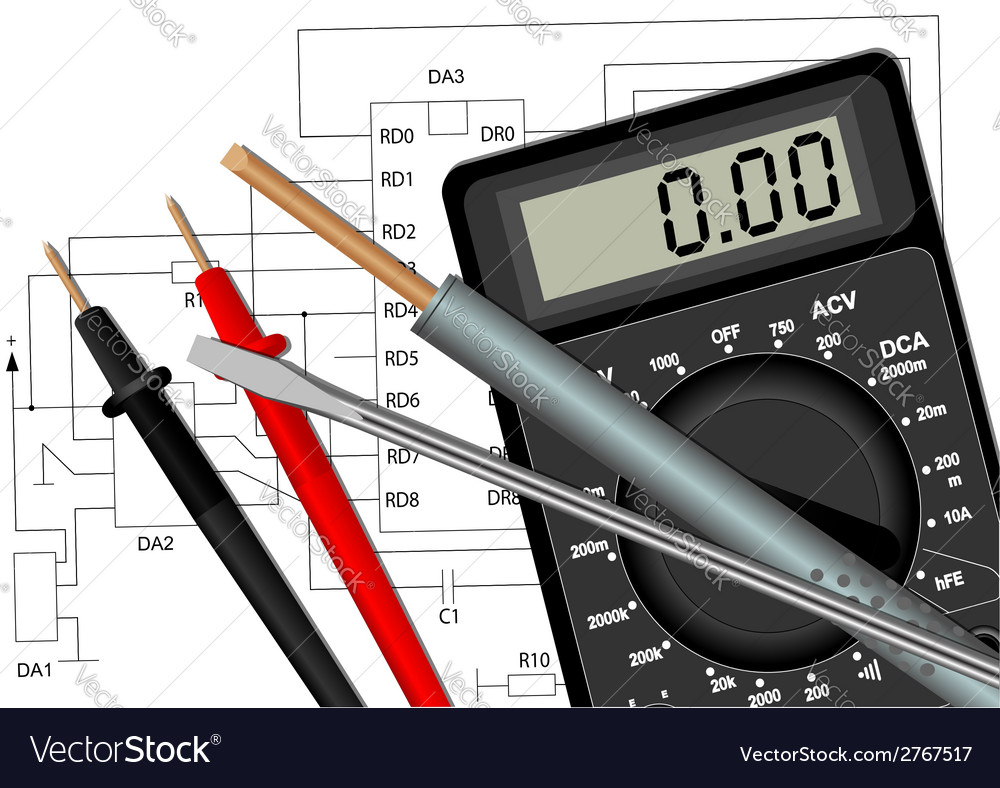 Soldering iron screwdriver and multimeter vector | Price: 1 Credit (USD $1)