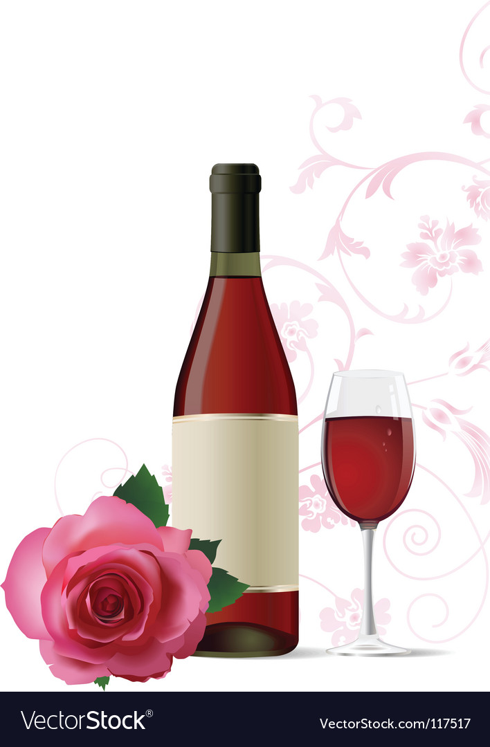 Wine and rose vector | Price: 1 Credit (USD $1)