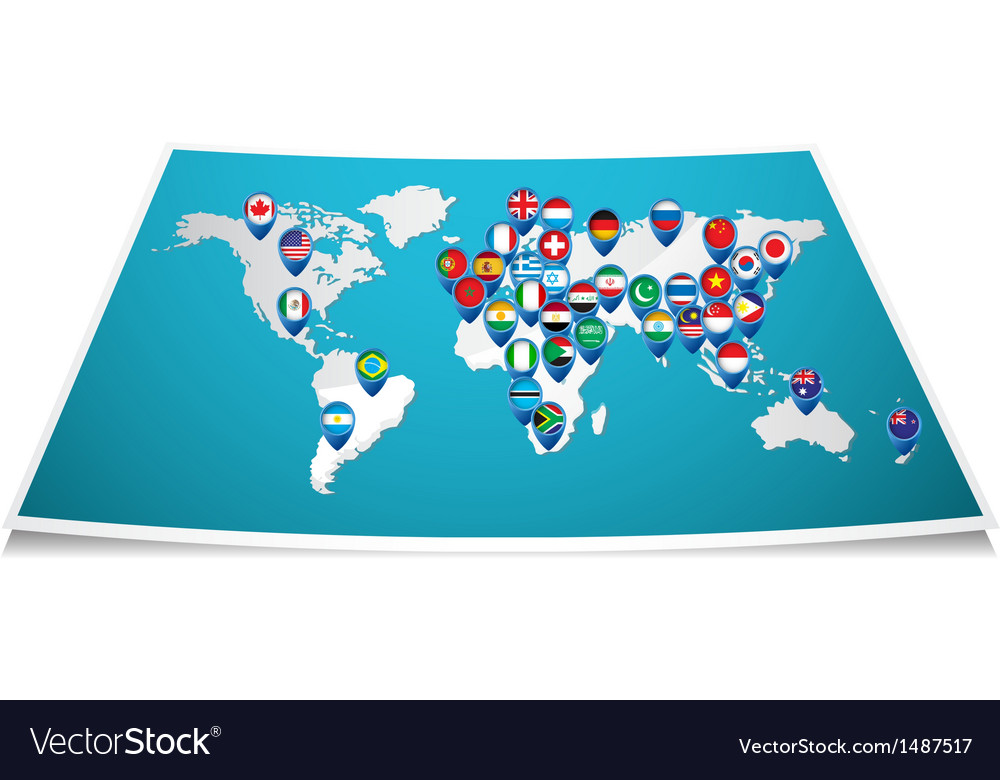 World map with pin vector | Price: 1 Credit (USD $1)