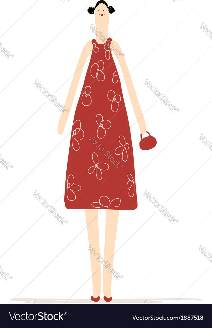 Beautiful woman in red dress for your design vector | Price: 1 Credit (USD $1)