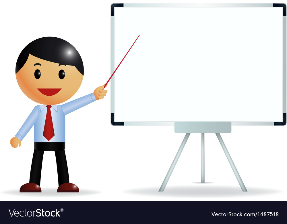 Businessman presenting on whiteboard vector | Price: 1 Credit (USD $1)