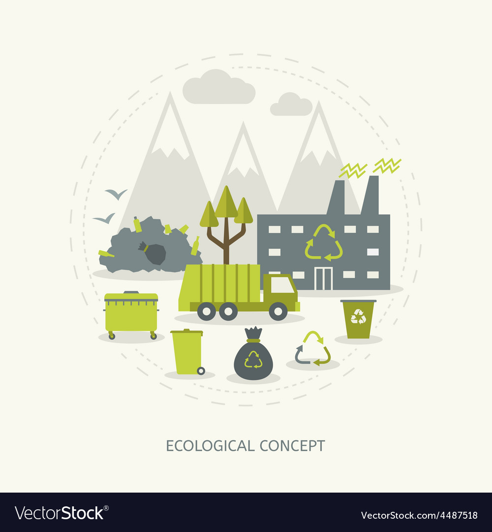 Ecologic concept in flat style vector | Price: 1 Credit (USD $1)