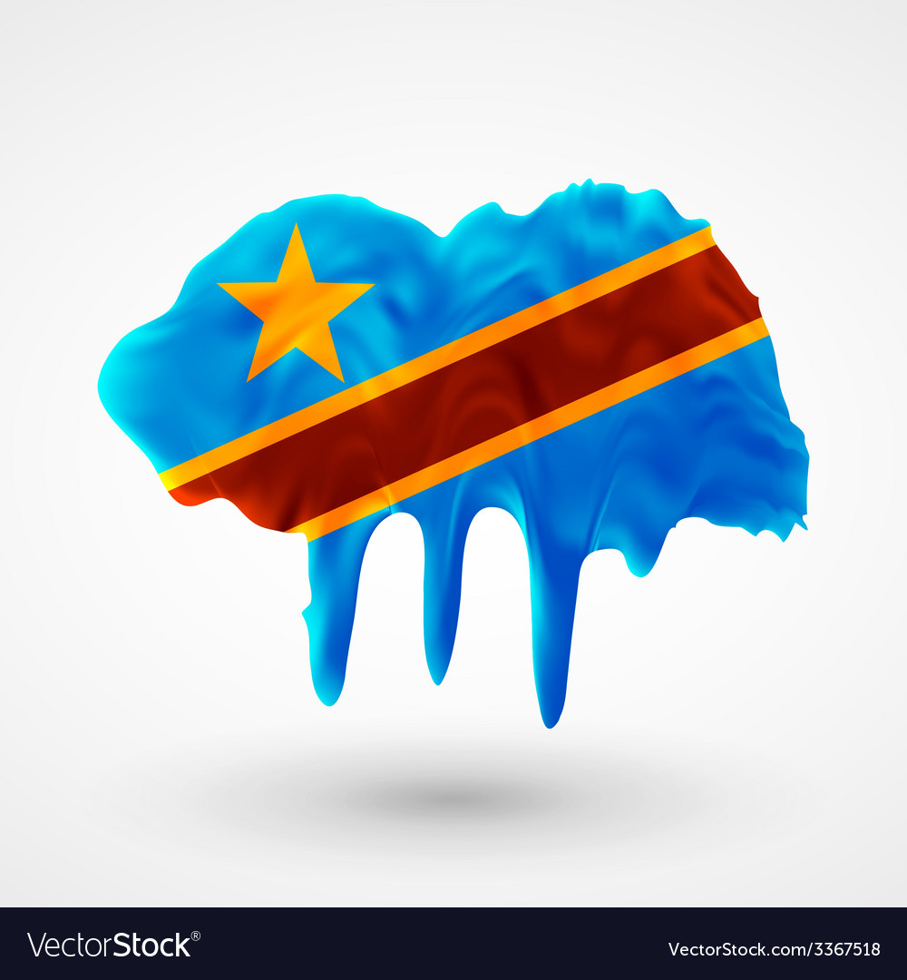 Flag democratic republic of congo painted colors vector | Price: 1 Credit (USD $1)