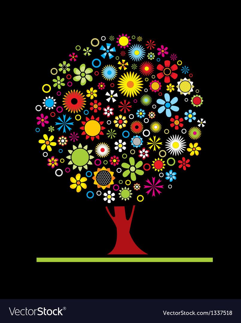 Flowers tree vector | Price: 1 Credit (USD $1)