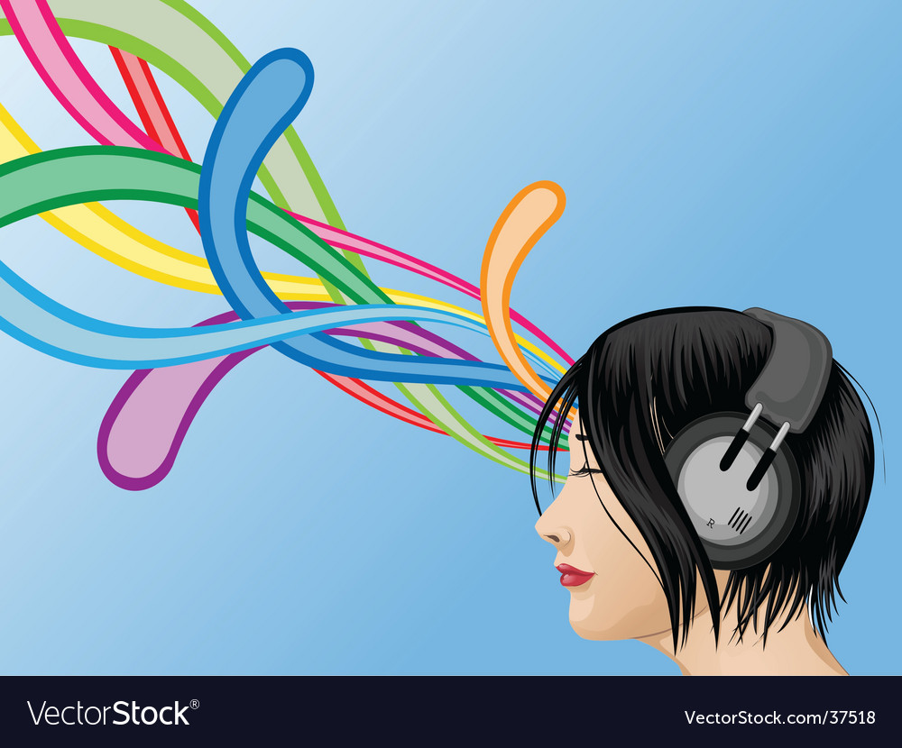 Headphone girl vector | Price: 3 Credit (USD $3)
