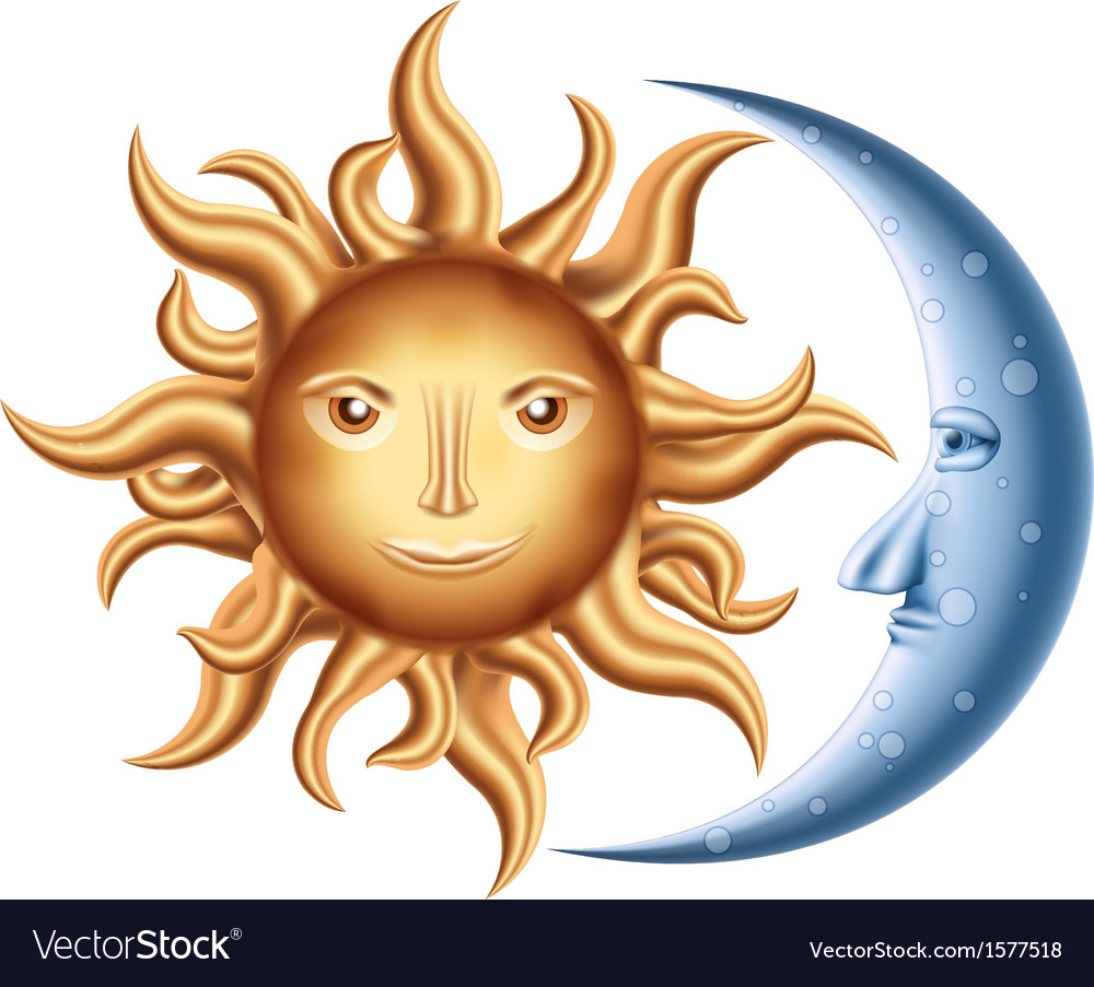Moon and sun vector | Price: 1 Credit (USD $1)