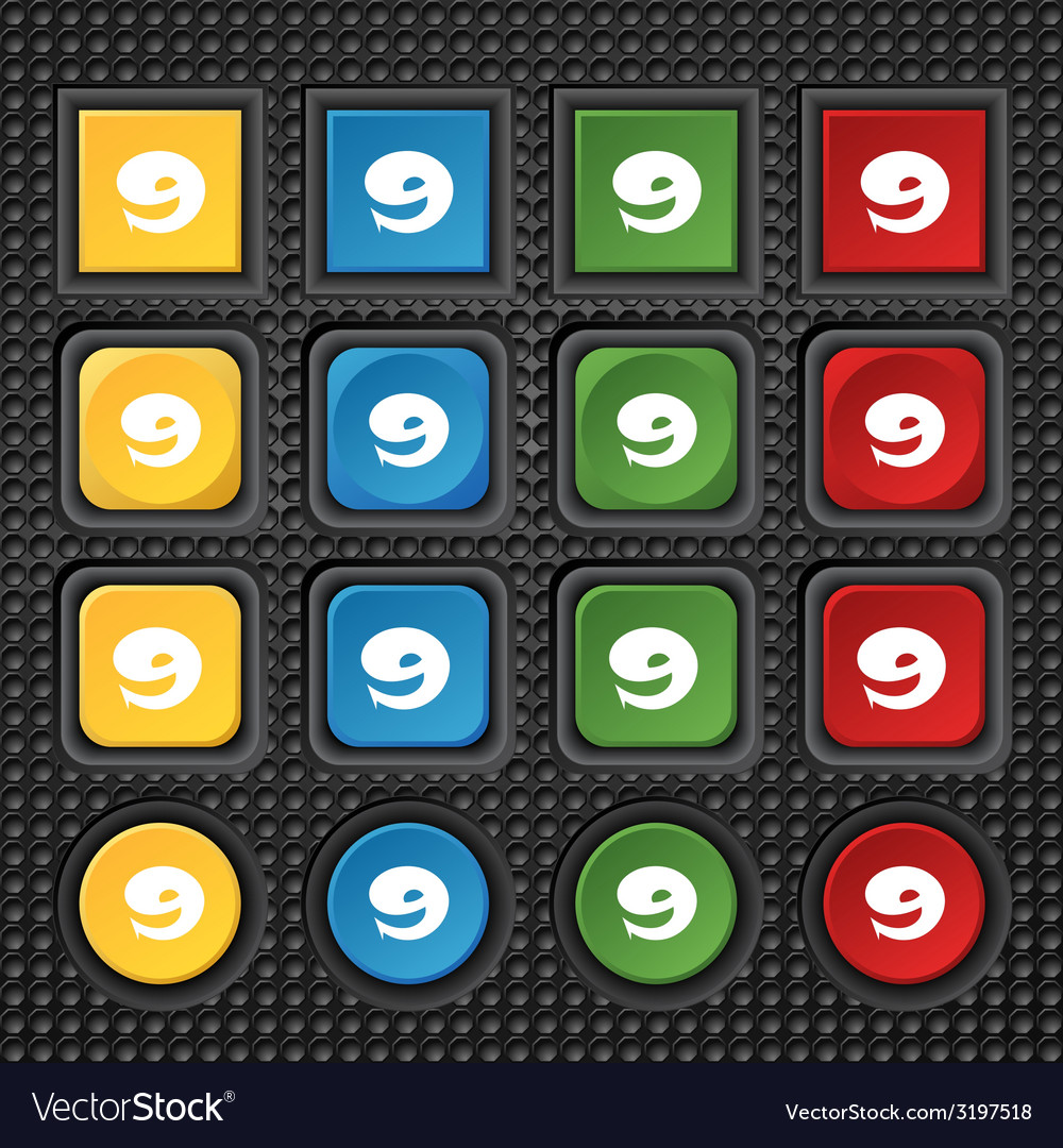 Number nine icon sign set of coloured buttons vector   Price: 1 Credit (USD $1)