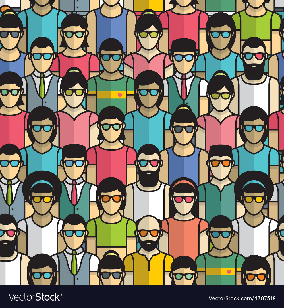 Seamless pattern group people vector | Price: 1 Credit (USD $1)