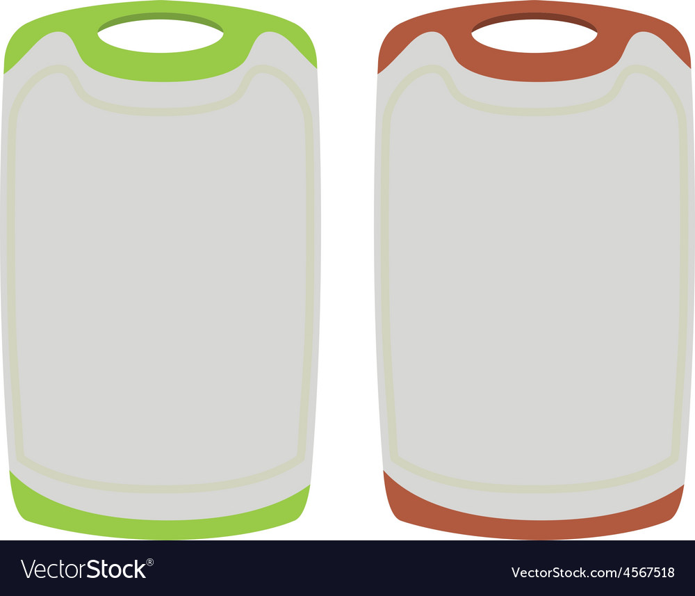 Set of empty the plastic cutting boards on white vector | Price: 1 Credit (USD $1)