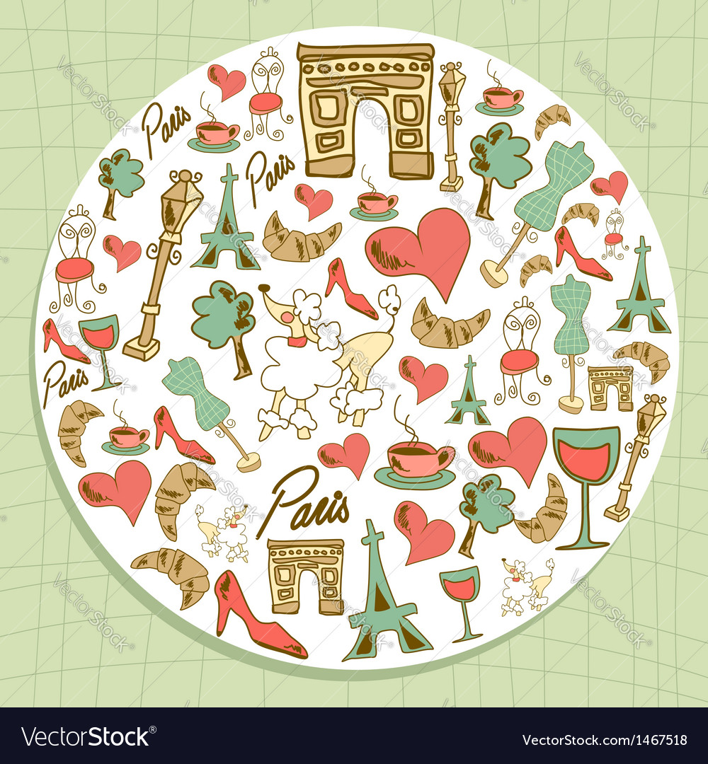 Travel paris icon set circle vector | Price: 1 Credit (USD $1)