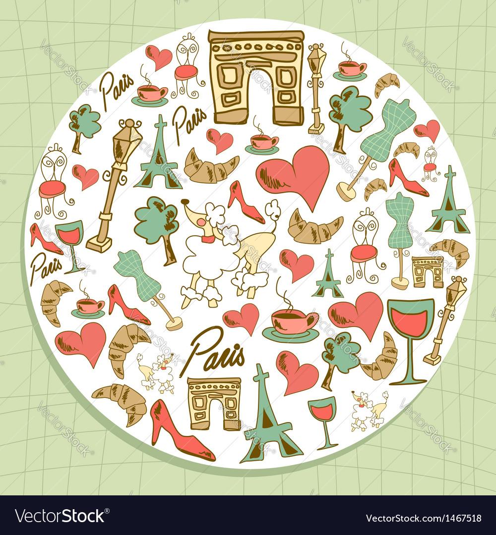 Travel paris icon set circle vector | Price: 1 Credit (USD $1)