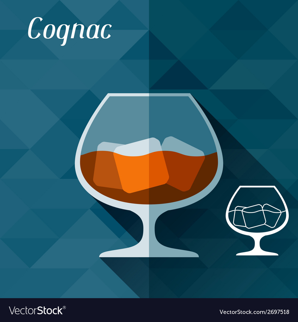 With glass of cognac in flat design style vector | Price: 1 Credit (USD $1)