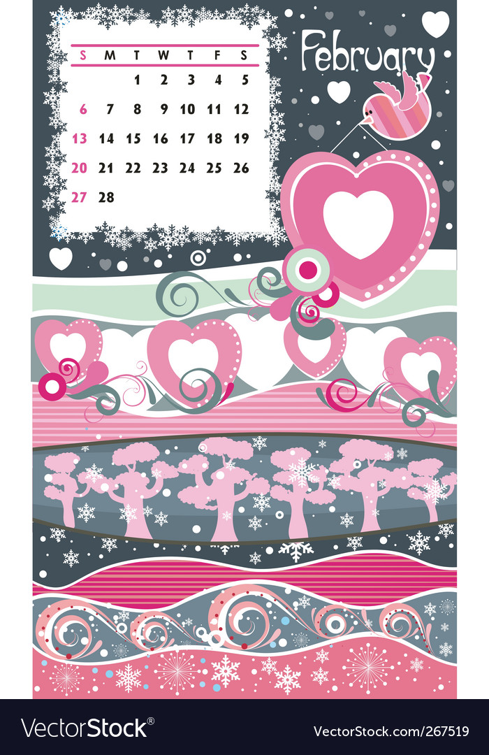 Calendar february vector | Price: 1 Credit (USD $1)