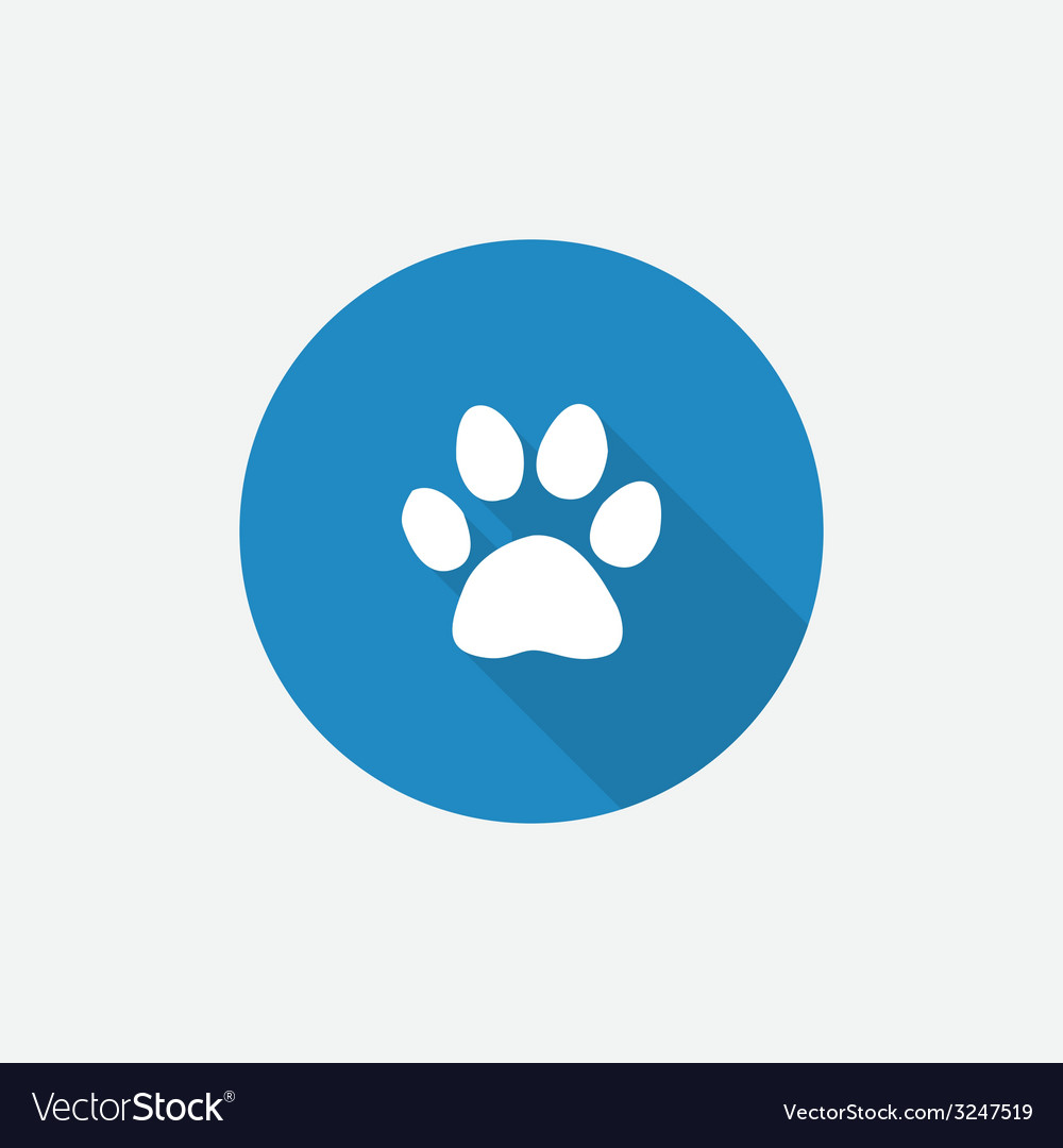 Cat footprint flat blue simple icon with long vector | Price: 1 Credit (USD $1)