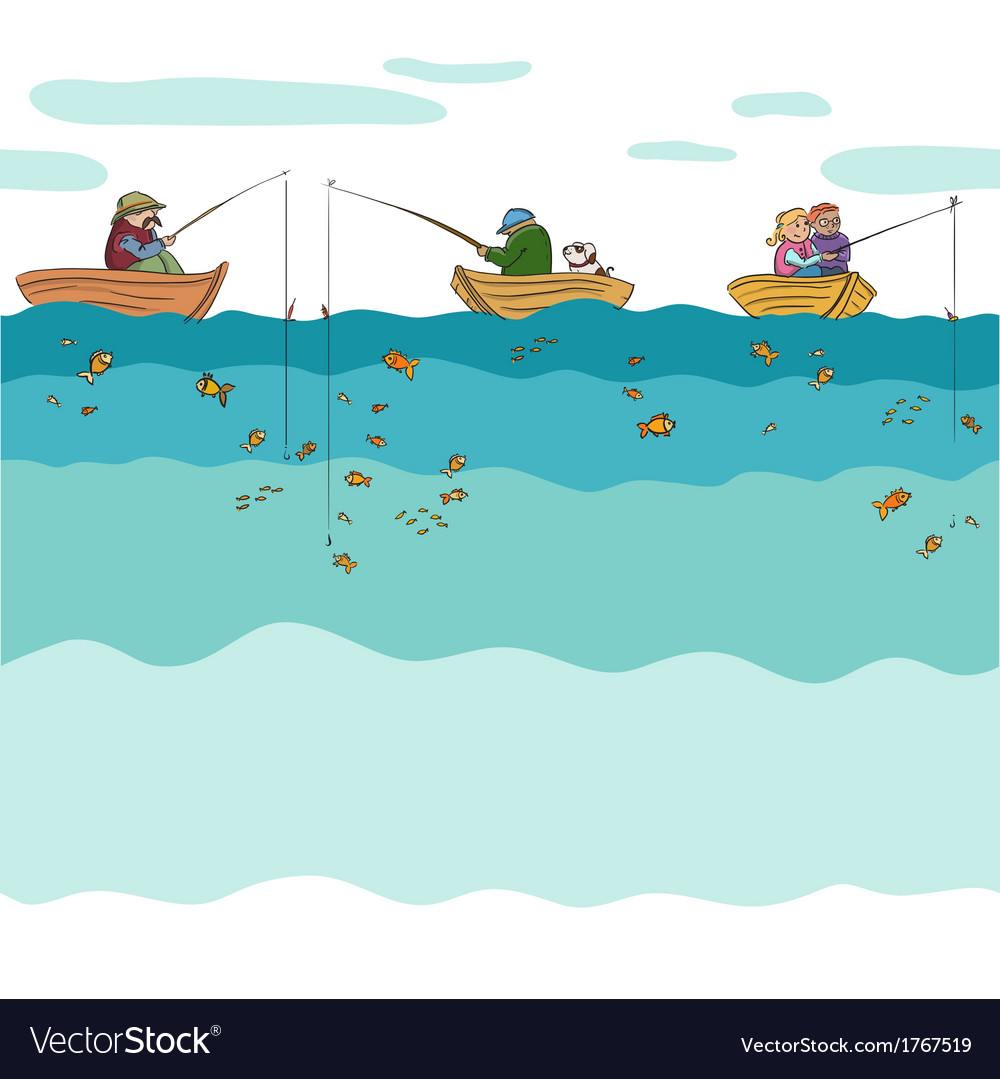Fishing seamless background vector | Price: 1 Credit (USD $1)