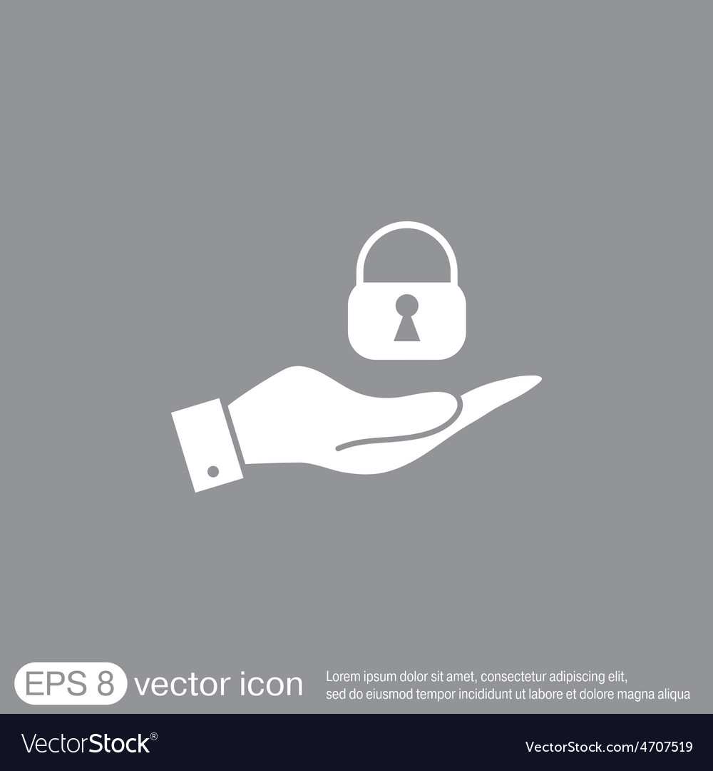Hand holding a padlock vector | Price: 1 Credit (USD $1)