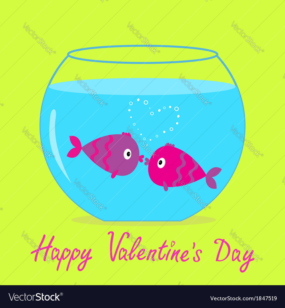 Kissing fishes in the aquarium valentines day vector | Price: 1 Credit (USD $1)
