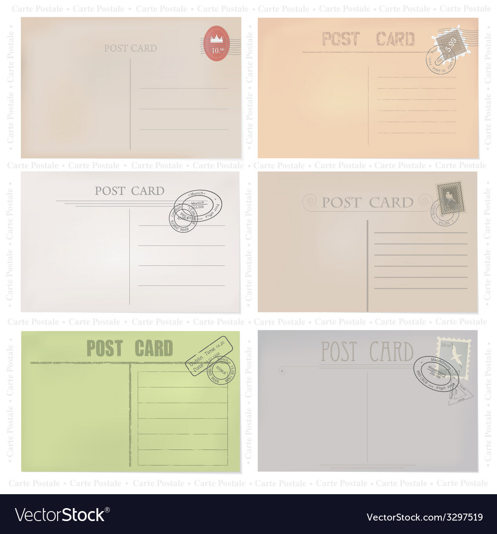 Six old post envelopes on a white background vector | Price: 1 Credit (USD $1)