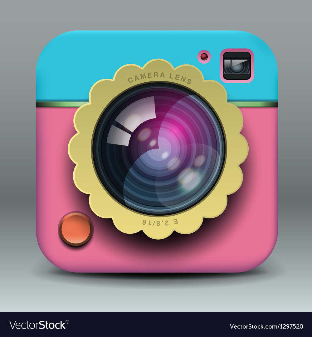 App design pink and blue photo camera icon vector | Price: 1 Credit (USD $1)