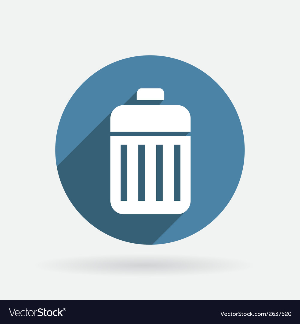 Basket garbage circle blue icon with shadow vector | Price: 1 Credit (USD $1)