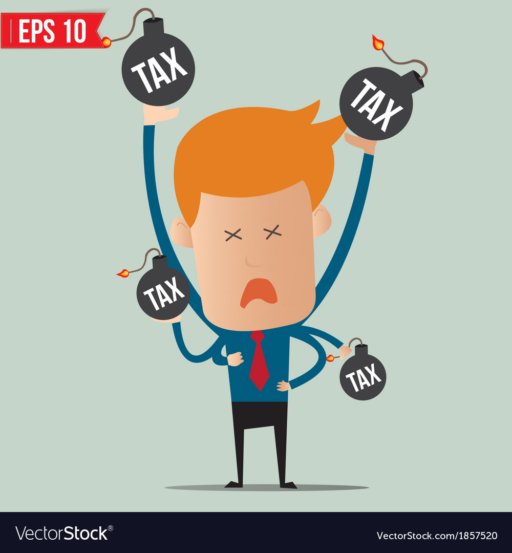 Businessman with tax bomb vector | Price: 1 Credit (USD $1)