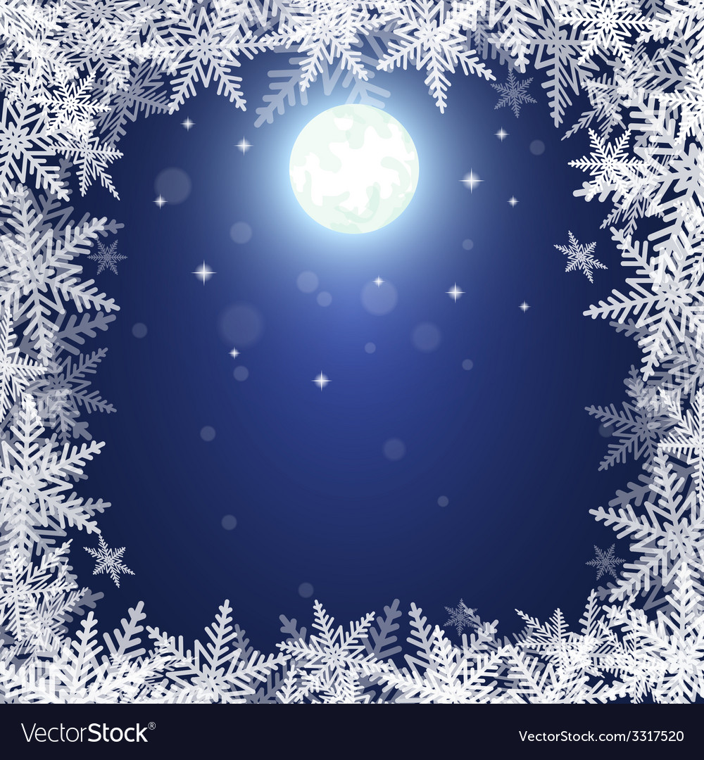 Christmas snowflakes and moon vector | Price: 1 Credit (USD $1)