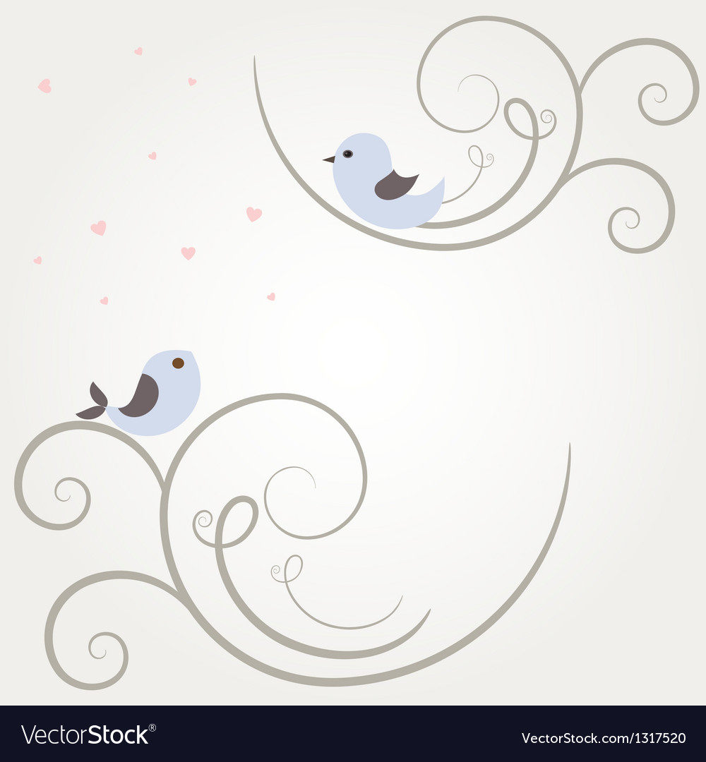 Cute greetings card with birds on a swing vector | Price: 1 Credit (USD $1)