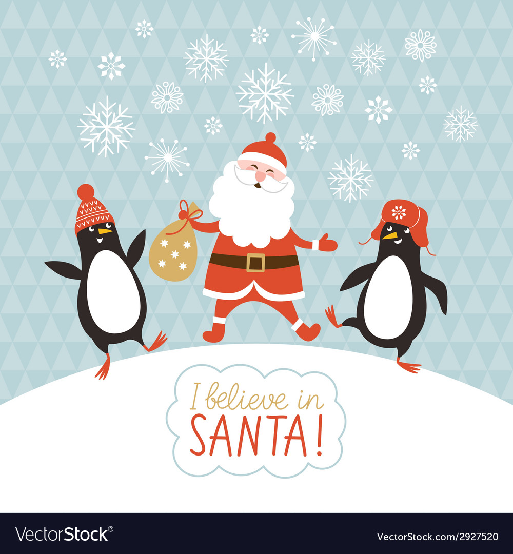 Cute penguins and santa vector | Price: 1 Credit (USD $1)