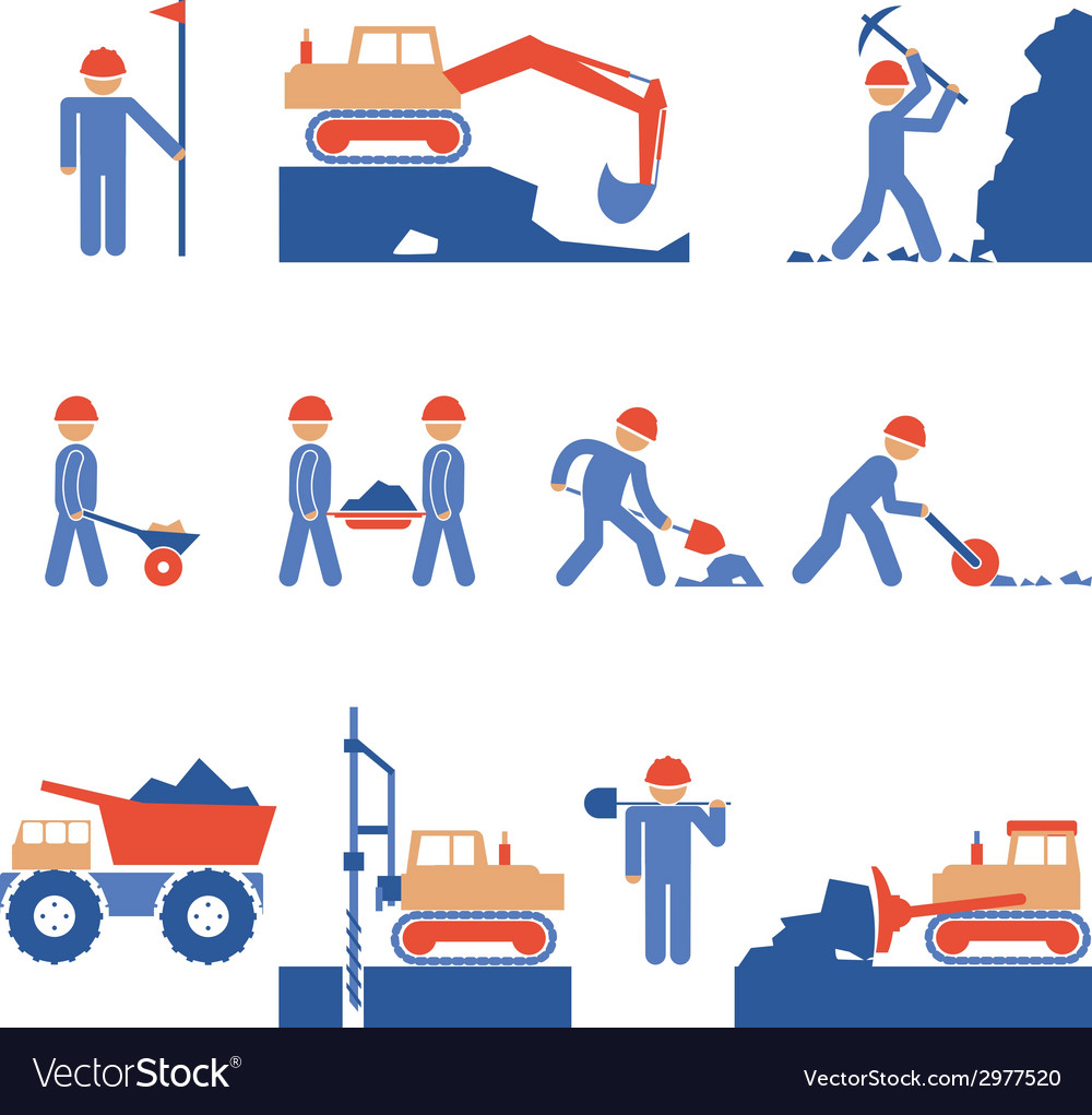 Earthwork and road construction icons vector | Price: 1 Credit (USD $1)