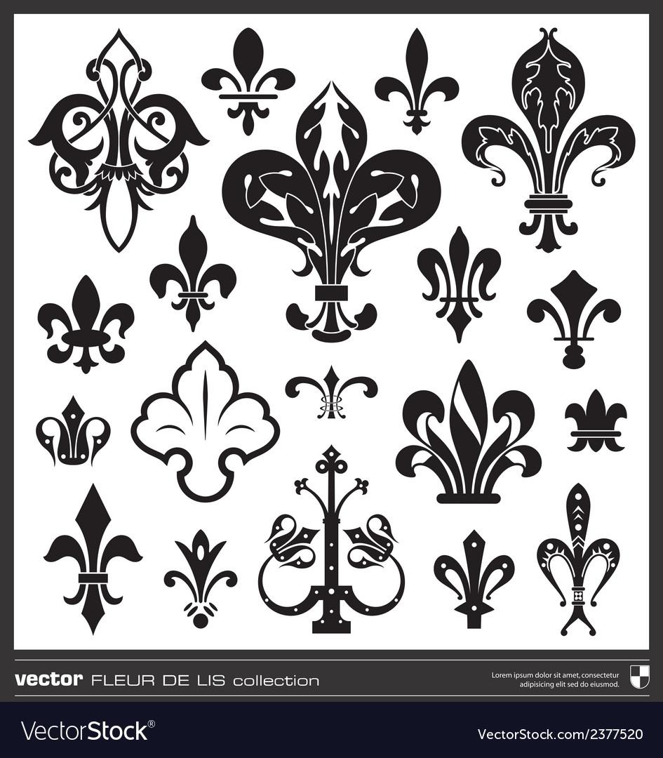 Fleur de lis silhouettes vector | Price: 1 Credit (USD $1)