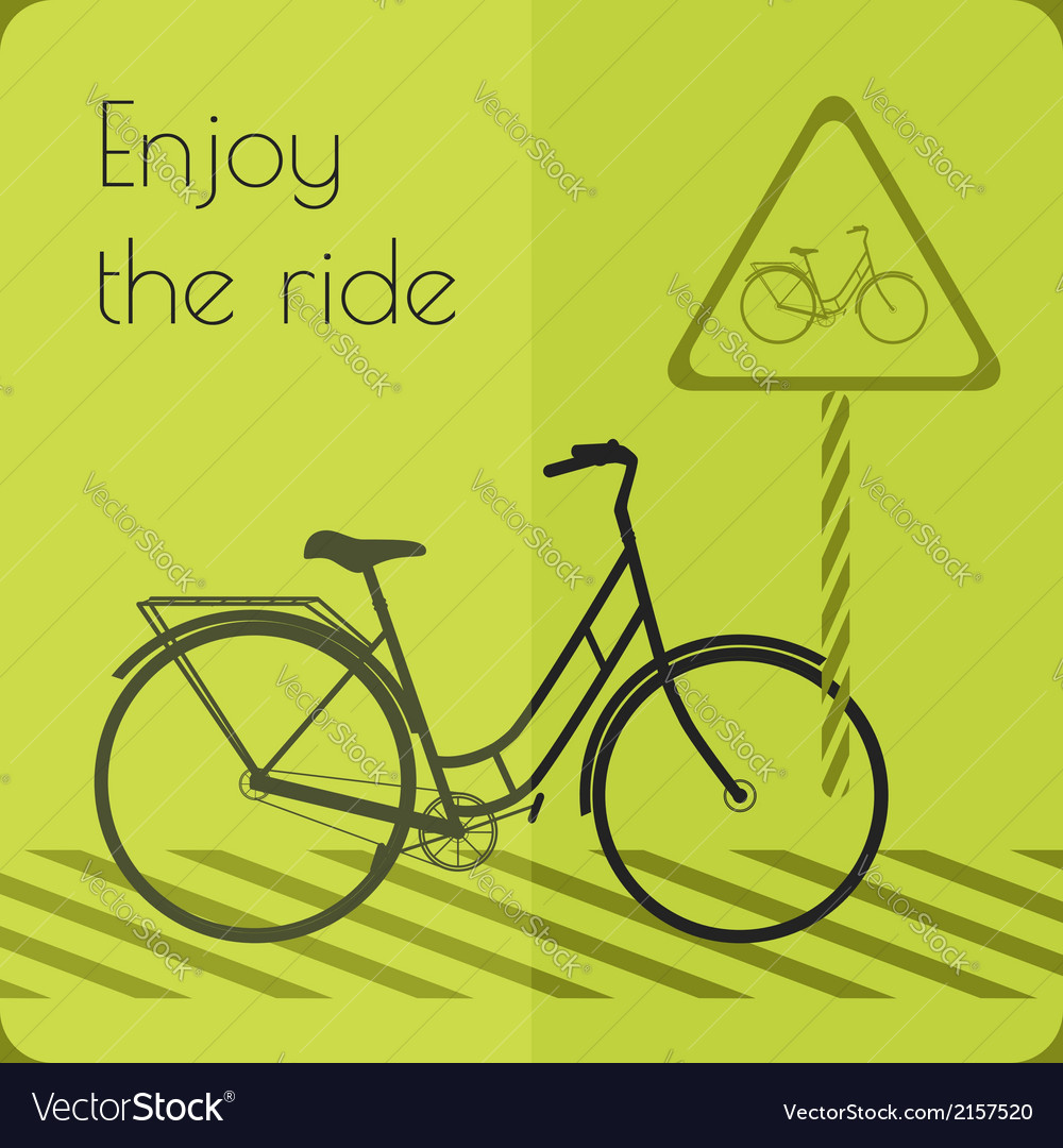 Gray shape bicycle on the road with road sign vector | Price: 1 Credit (USD $1)