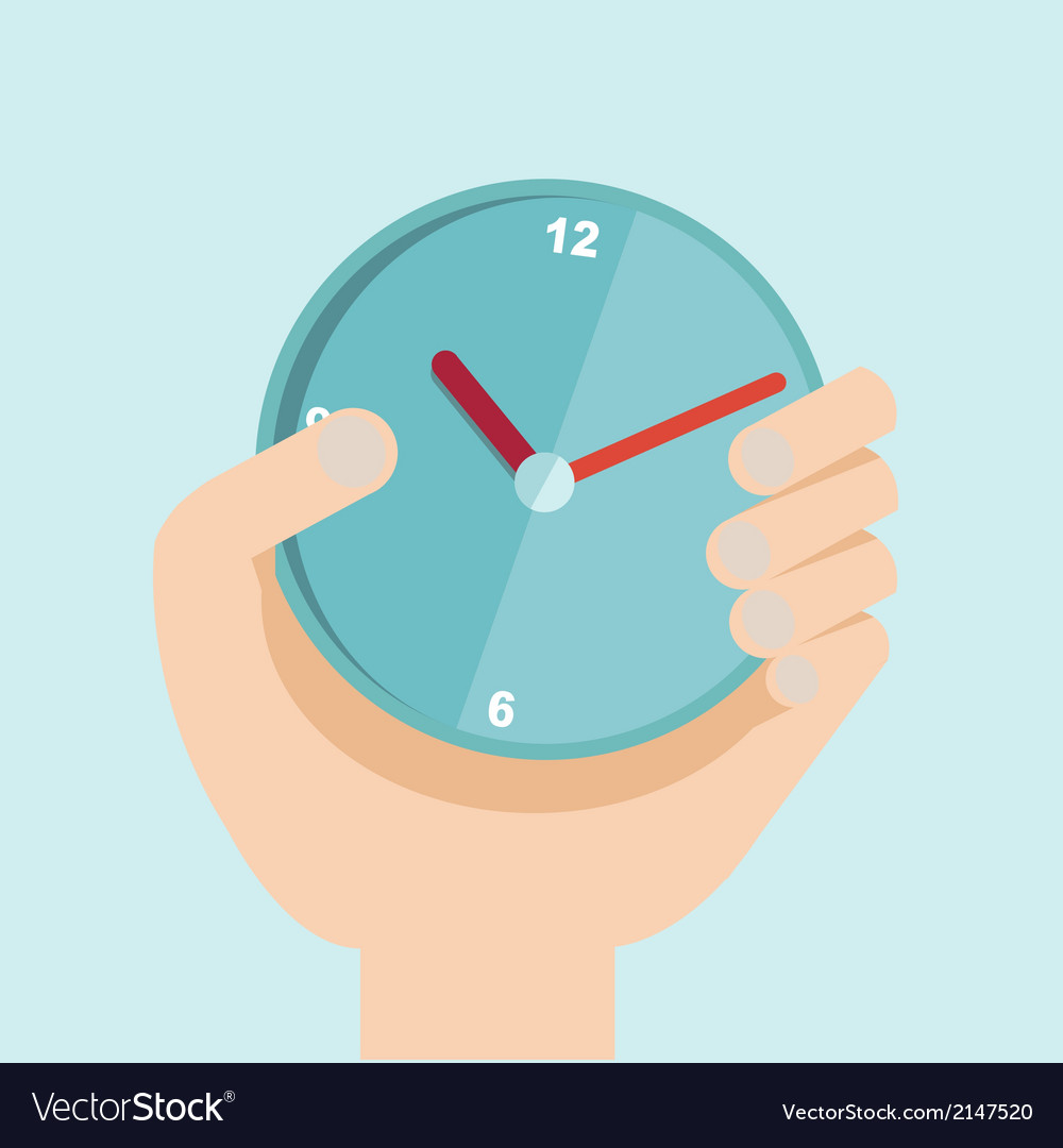 Hand with clock in flat design for time vector | Price: 1 Credit (USD $1)