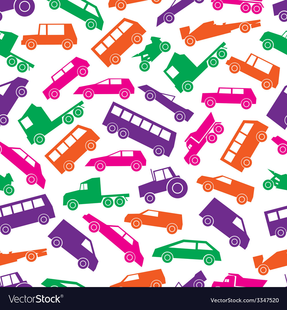 Simple cars color icons seamless pattern eps10 vector | Price: 1 Credit (USD $1)