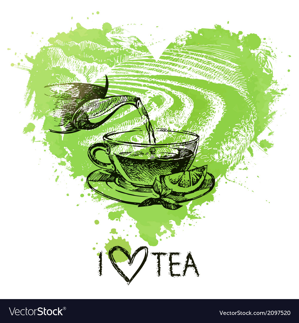 Tea background with splash watercolor heart vector | Price: 1 Credit (USD $1)