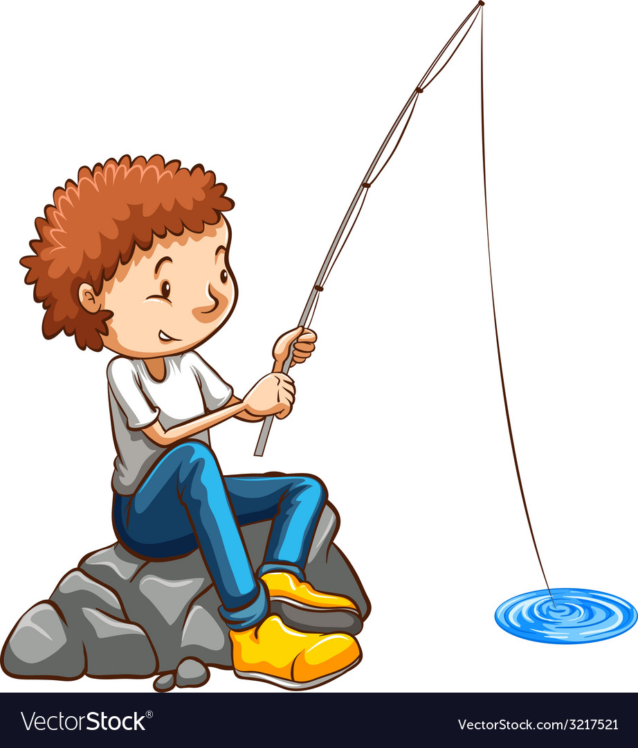 A simple drawing of a man fishing vector | Price: 1 Credit (USD $1)