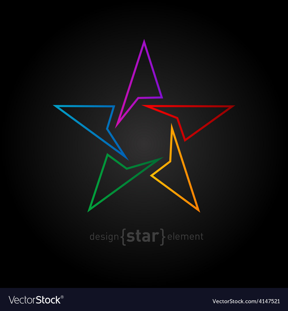 Abstract rainbow thin star design element on black vector | Price: 1 Credit (USD $1)