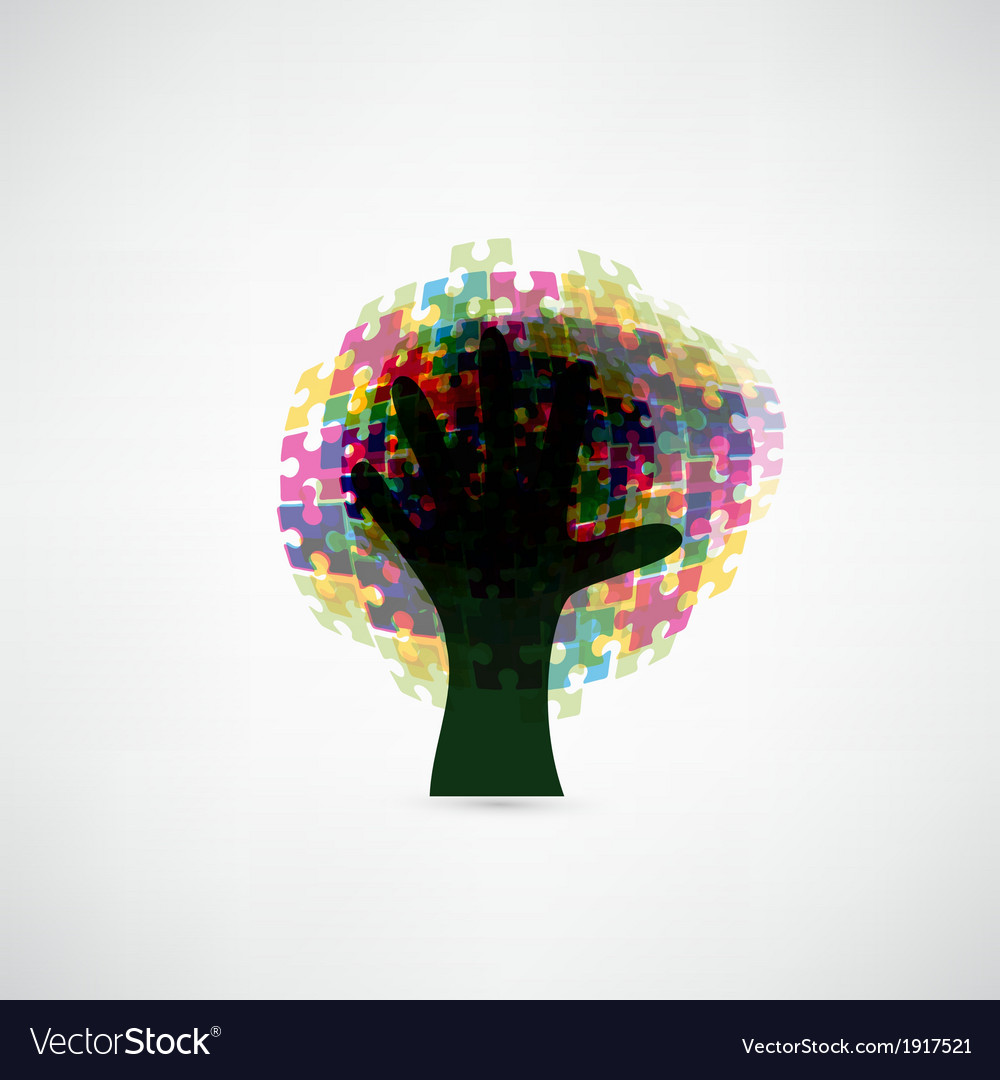 Abstract tree puzzle colorful background vector | Price: 1 Credit (USD $1)
